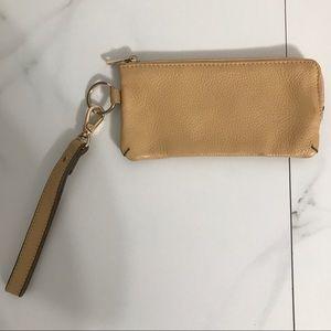 Ora Delphine Tan Pebbled Leather Wristlet